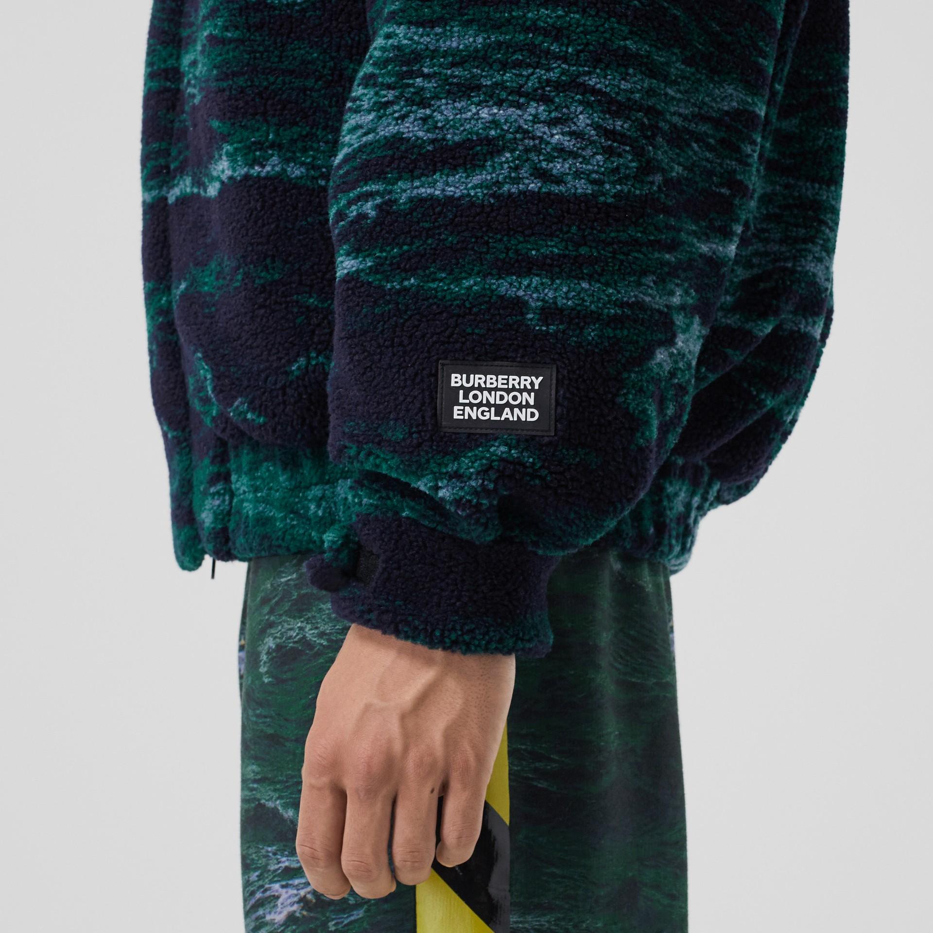 Sea Print Fleece Jacket with Detachable Warmer in Deep Teal - Men | Burberry - gallery image 6