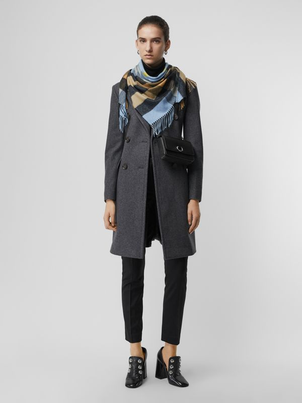 The Burberry Bandana in Check Cashmere in Pale Carbon Blue | Burberry United Kingdom - cell image 2