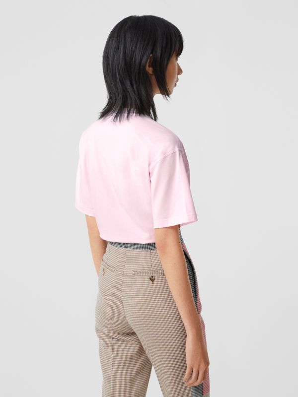 Logo Print Stretch Cotton Oversized T-shirt in Cloud Pink - Women | Burberry Canada - cell image 2