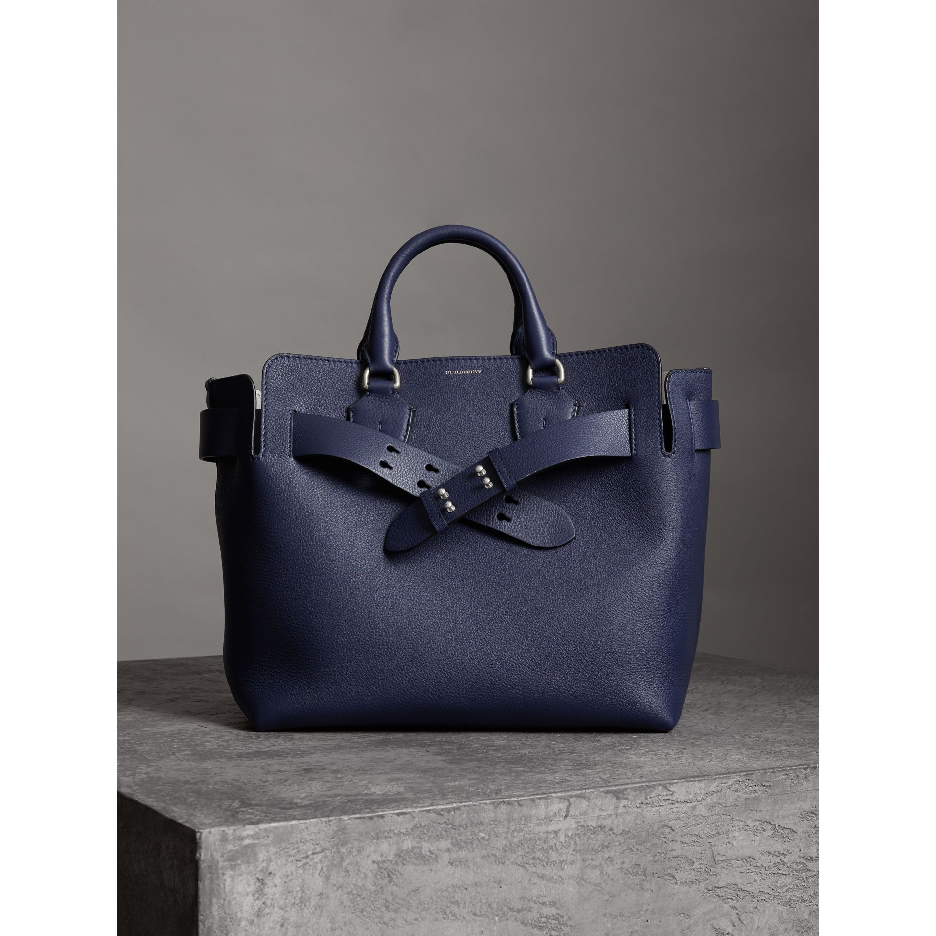 The Medium Belt Bag Grainy Leather Belt in Regency Blue - Women | Burberry United Kingdom - gallery image 3