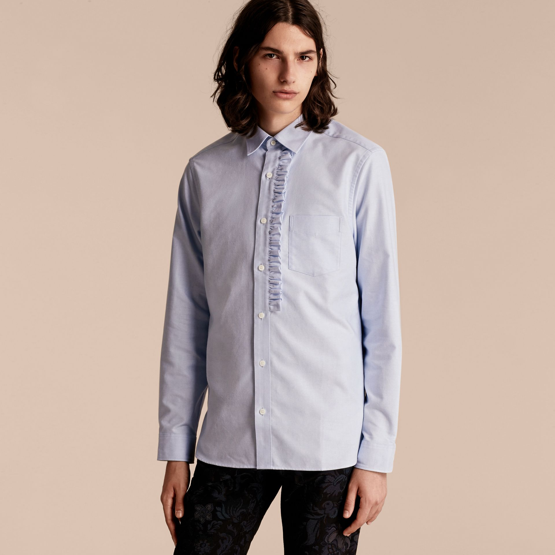 Cornflower blue Ruffle Detail Cotton Oxford Shirt - gallery image 1