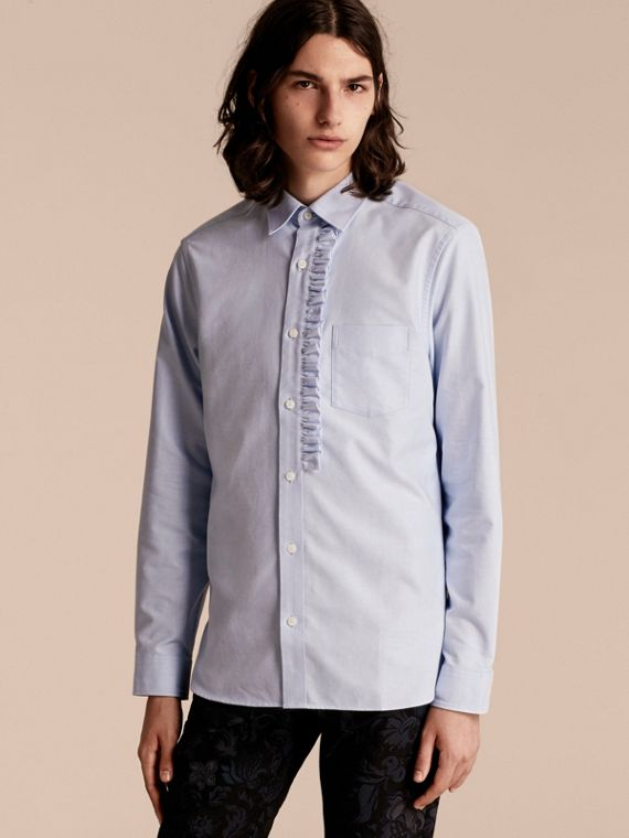 Ruffle Detail Cotton Oxford Shirt