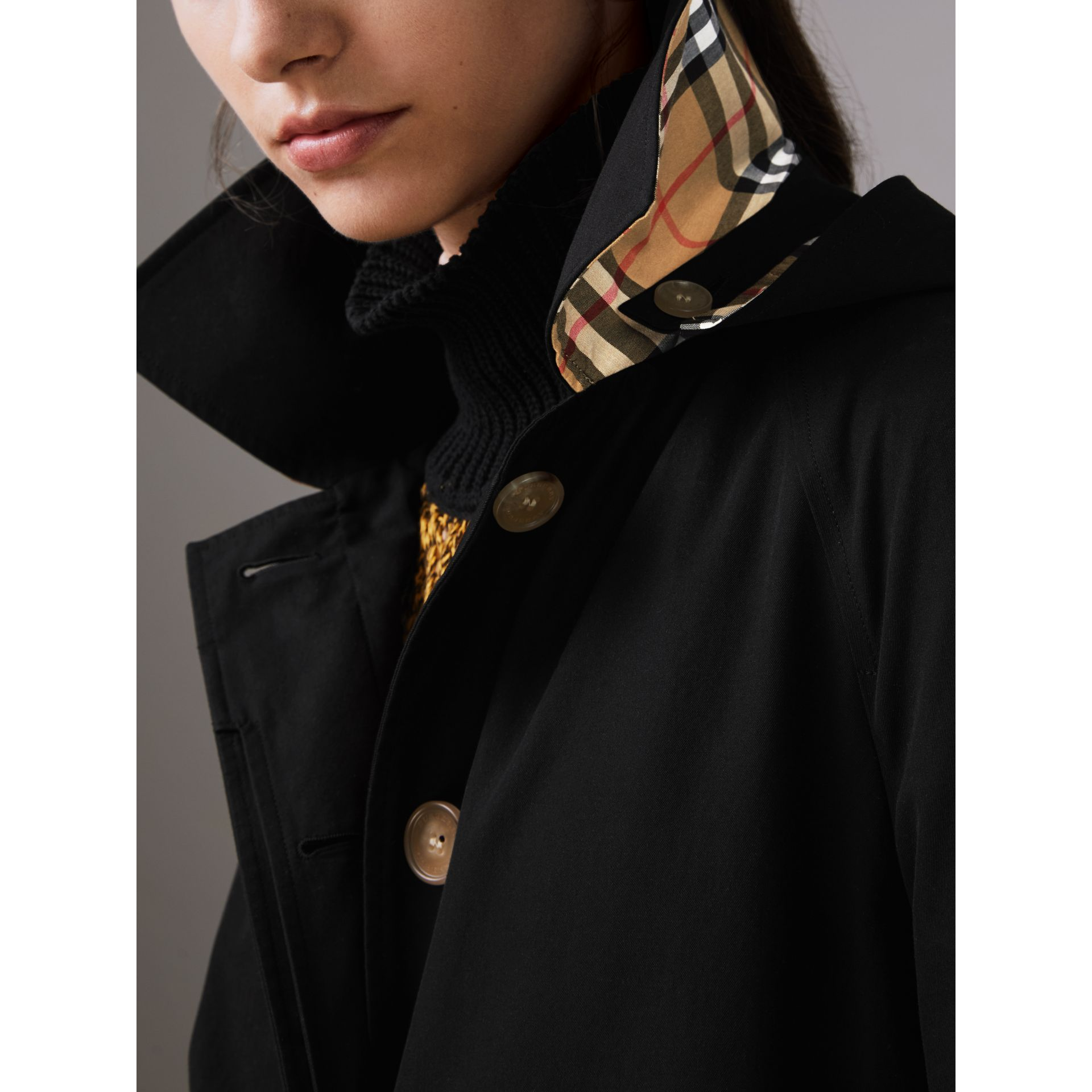 Detachable Hood Tropical Gabardine Car Coat in Black - Women | Burberry - gallery image 1