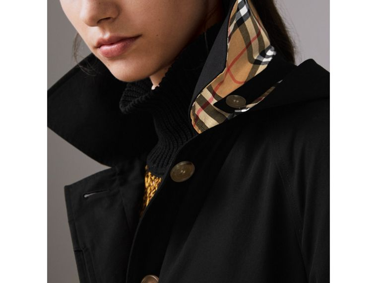 Car coat in gabardine tropicale con cappuccio amovibile (Nero) - Donna | Burberry - cell image 1