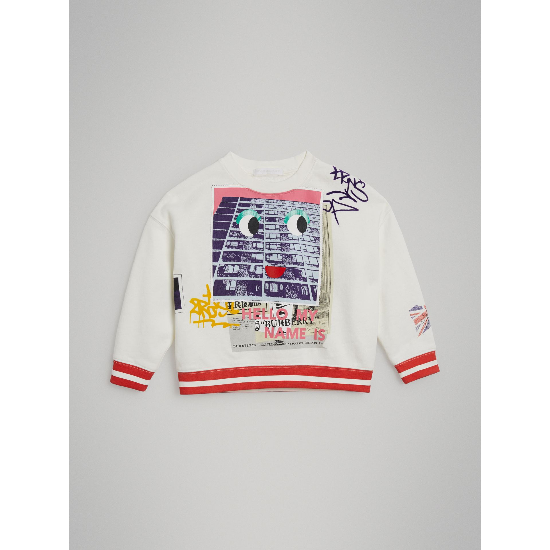 London Polaroid Print Cotton Sweatshirt in Ivory | Burberry Australia - gallery image 0