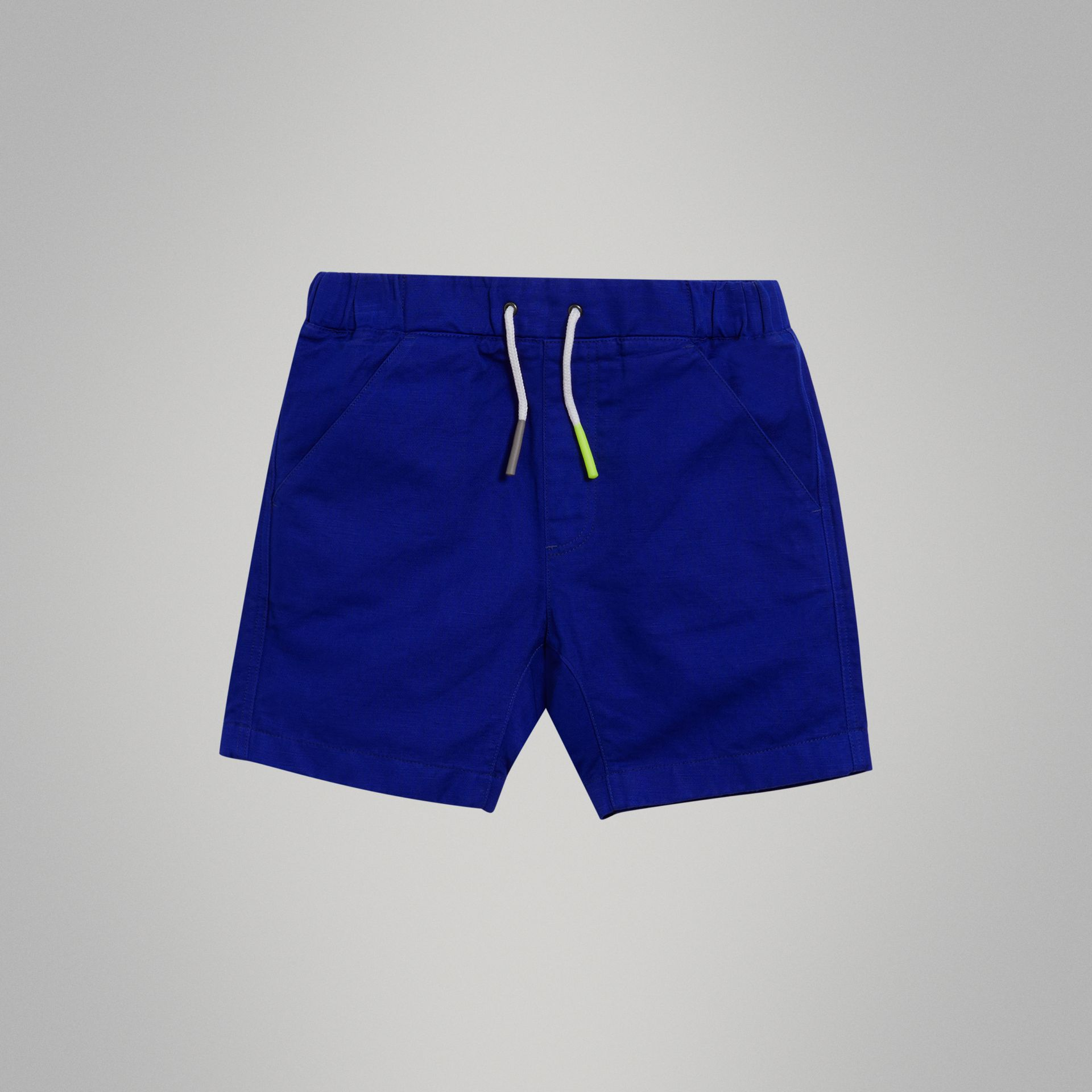 Drawcord Cotton Linen Twill Shorts in Brilliant Blue | Burberry - gallery image 0