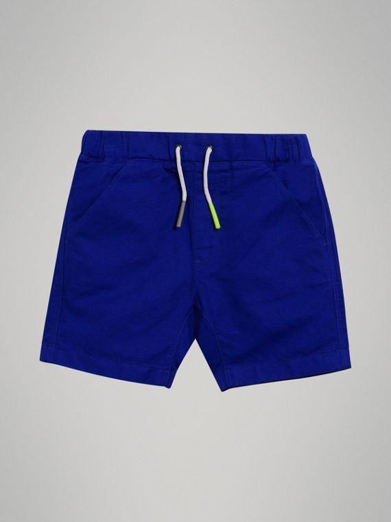 Drawcord Cotton Linen Twill Shorts in Brilliant Blue