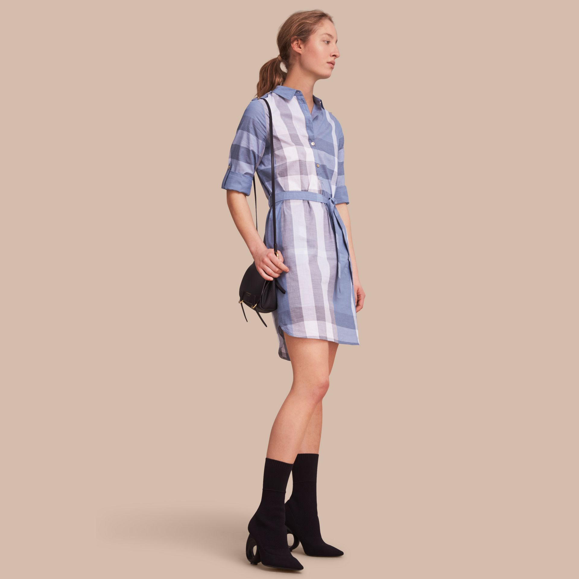 Tie-waist Check Cotton Shirt Dress - gallery image 1