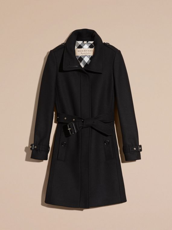 Black Technical Wool Cashmere Funnel Neck Coat Black - cell image 3