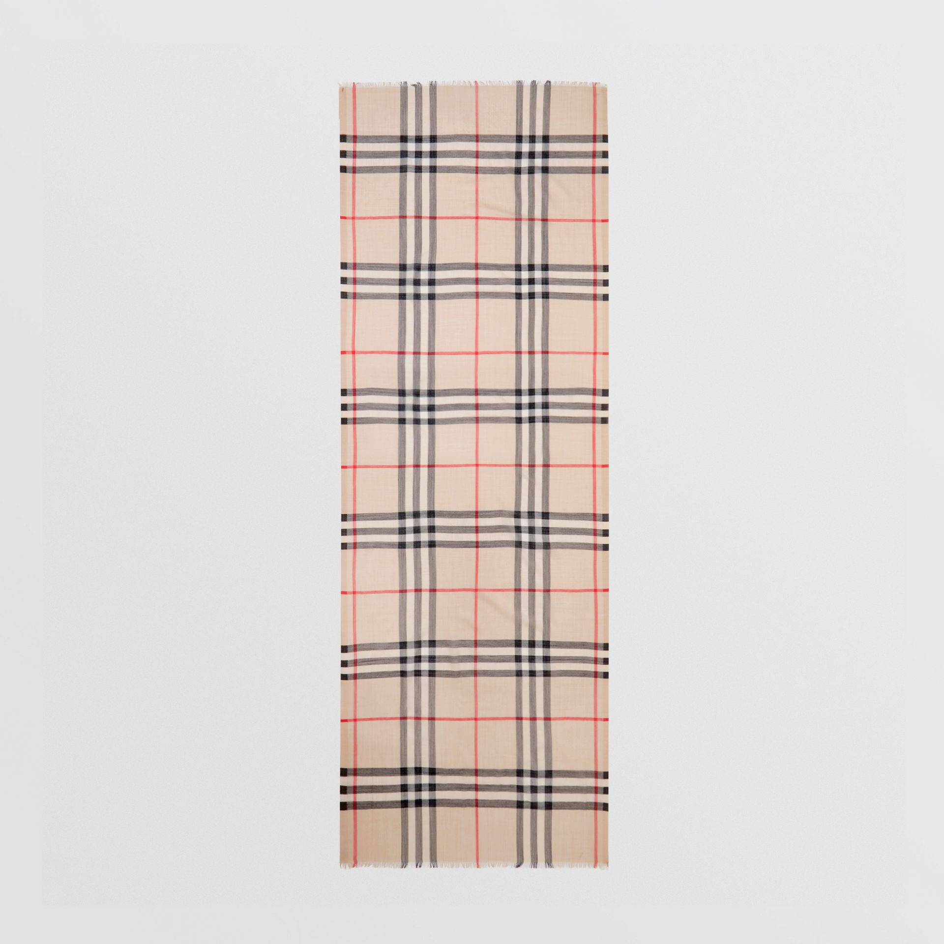 Lightweight Check Wool and Silk Scarf in Stone - Women | Burberry - gallery image 4