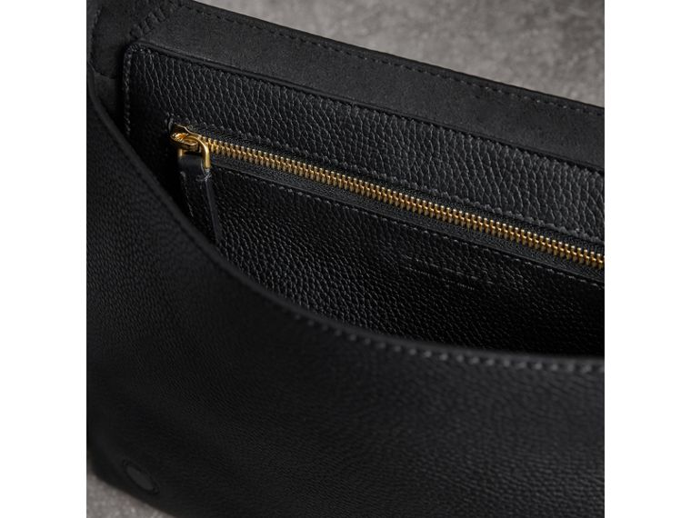 Medium Embossed Leather Messenger Bag in Black - Women | Burberry United Kingdom - cell image 4