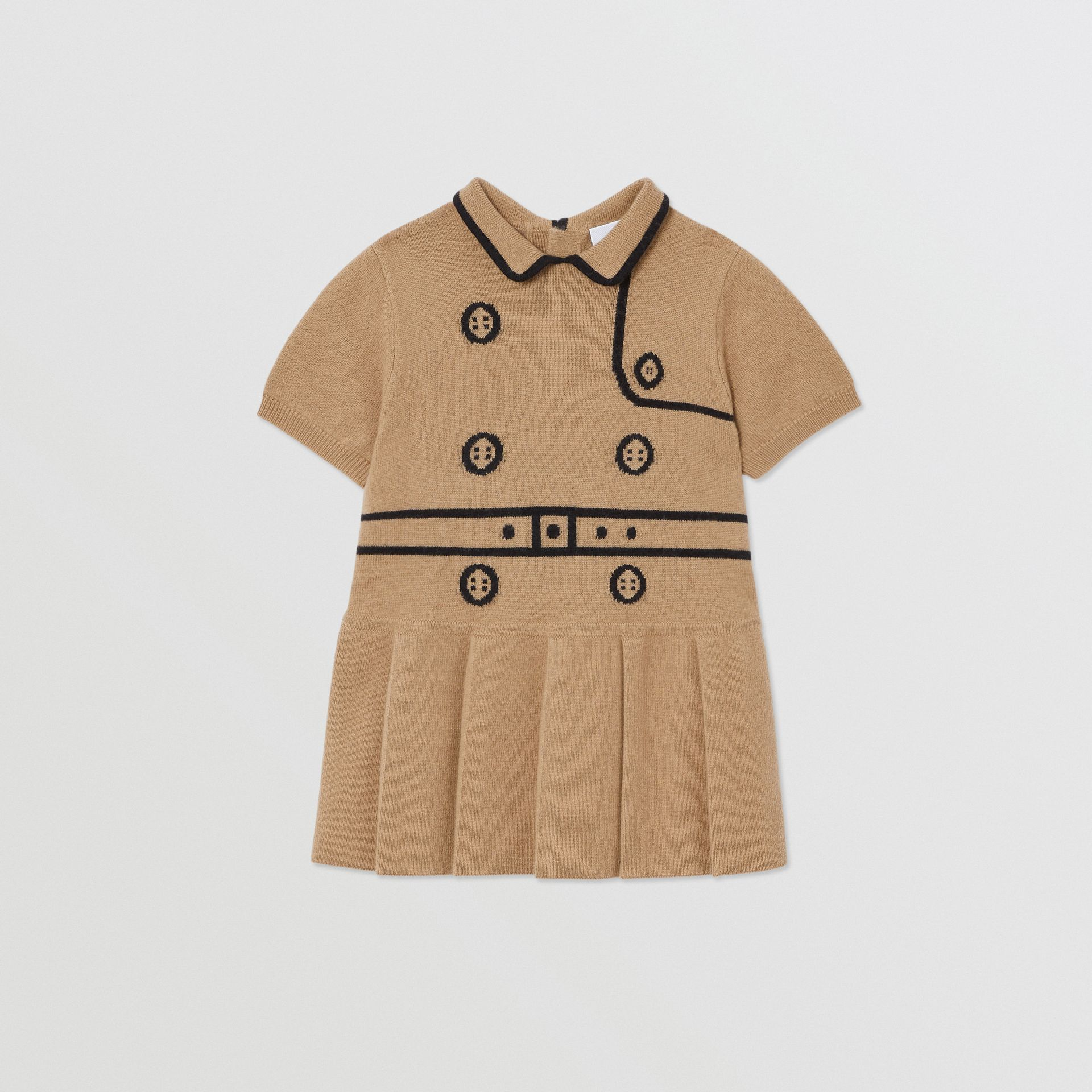 Trompe L'Oeil Intarsia Wool Cashmere Trench Dress in Archive Beige - Children | Burberry United Kingdom - gallery image 0