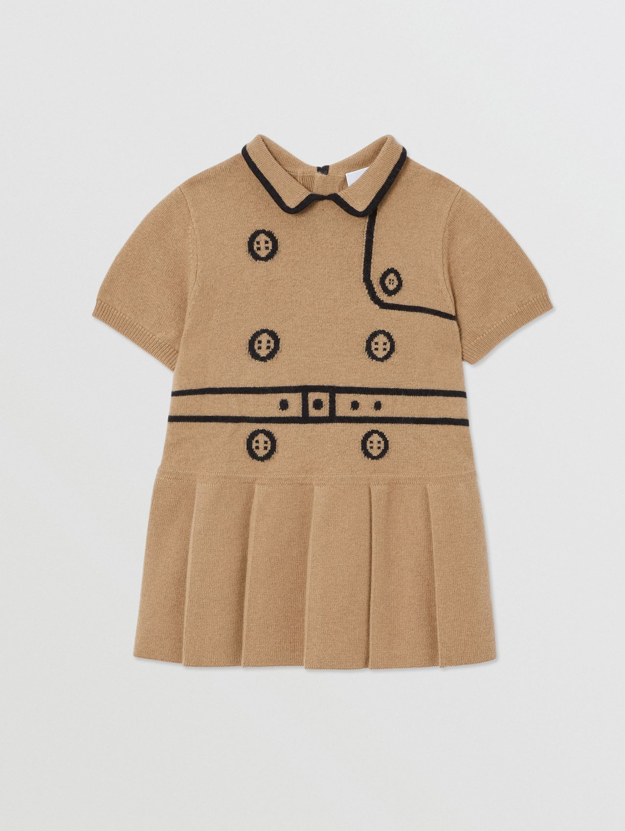 Trompe L'Oeil Intarsia Wool Cashmere Trench Dress in Archive Beige