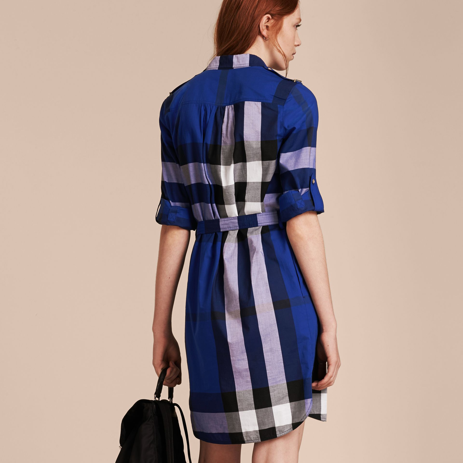 Check Cotton Shirt Dress in Brilliant Blue - gallery image 3