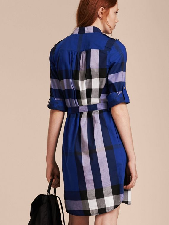 Check Cotton Shirt Dress in Brilliant Blue - cell image 2