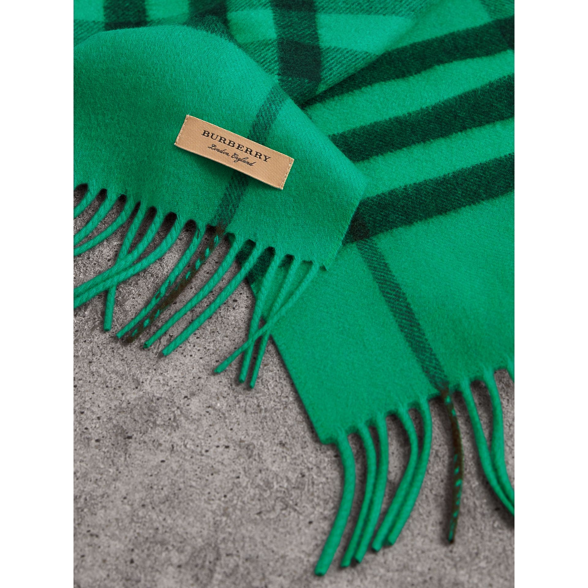 Overdyed Exploded Check Cashmere Scarf in Bright Emerald | Burberry - gallery image 1