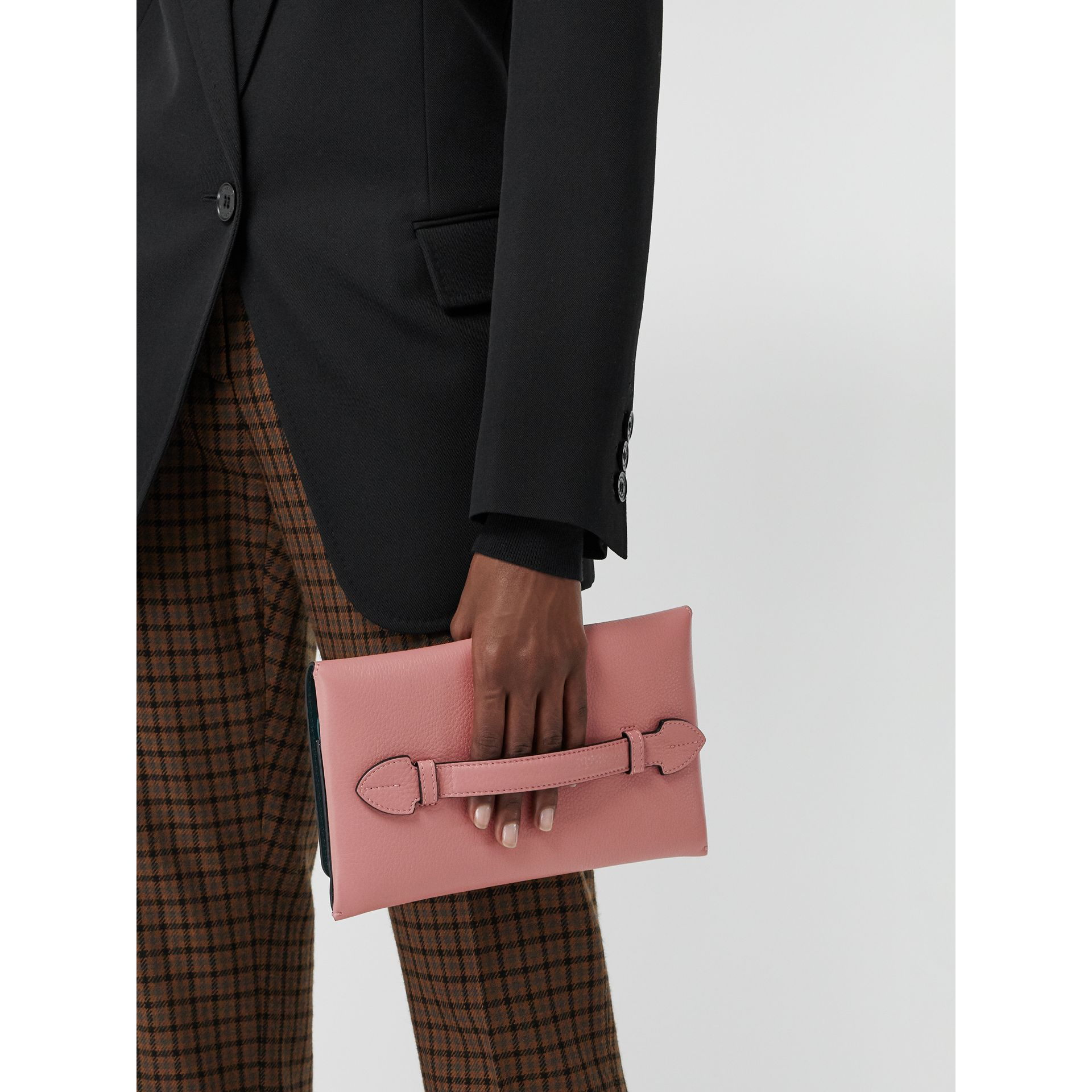 Two-tone Leather Wristlet Clutch in Dusty Rose - Women | Burberry - gallery image 3