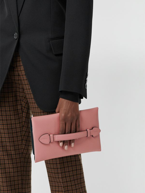 Two-tone Leather Wristlet Clutch in Dusty Rose - Women | Burberry - cell image 3