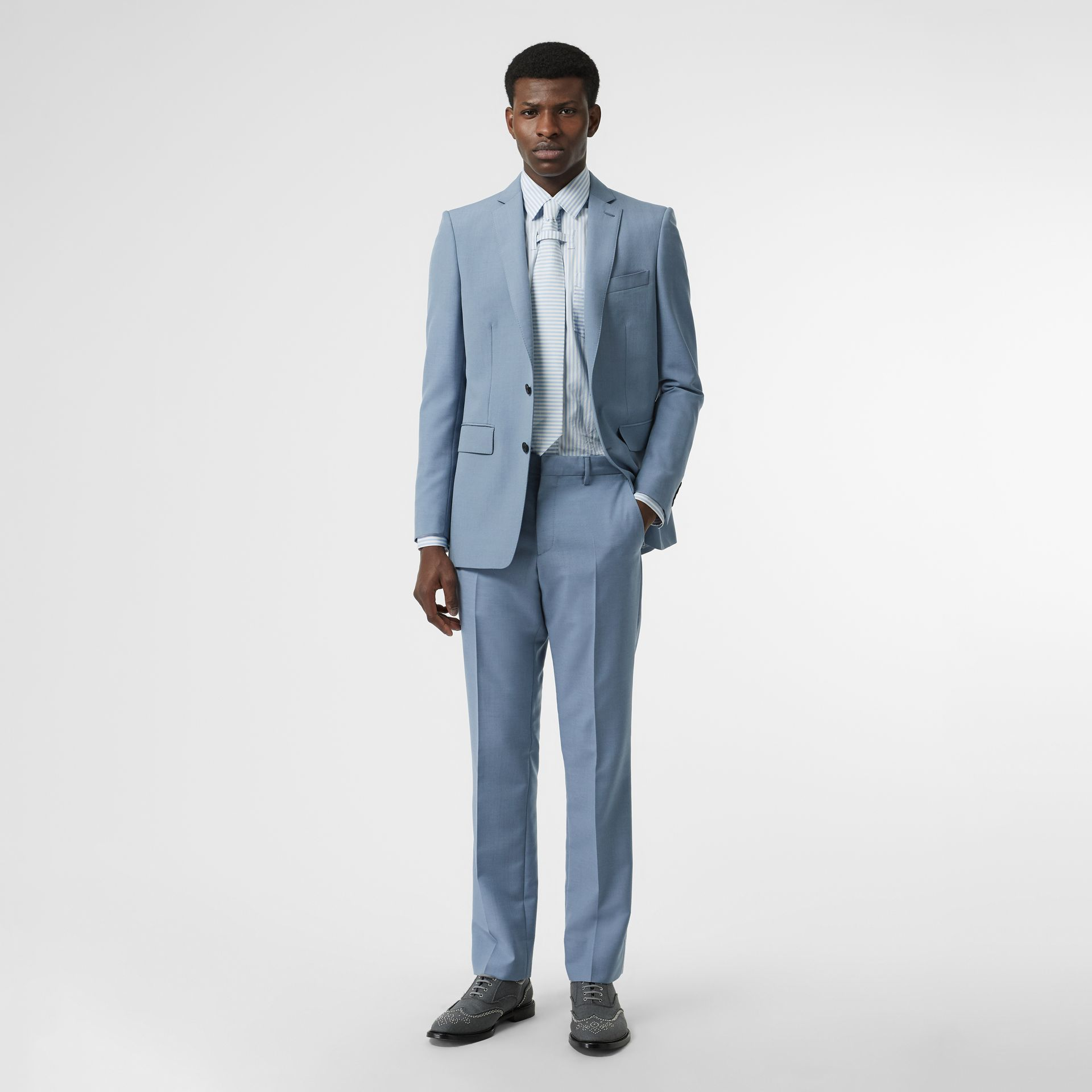 Classic Fit Wool Tailored Trousers in Pale Blue - Men | Burberry - gallery image 0