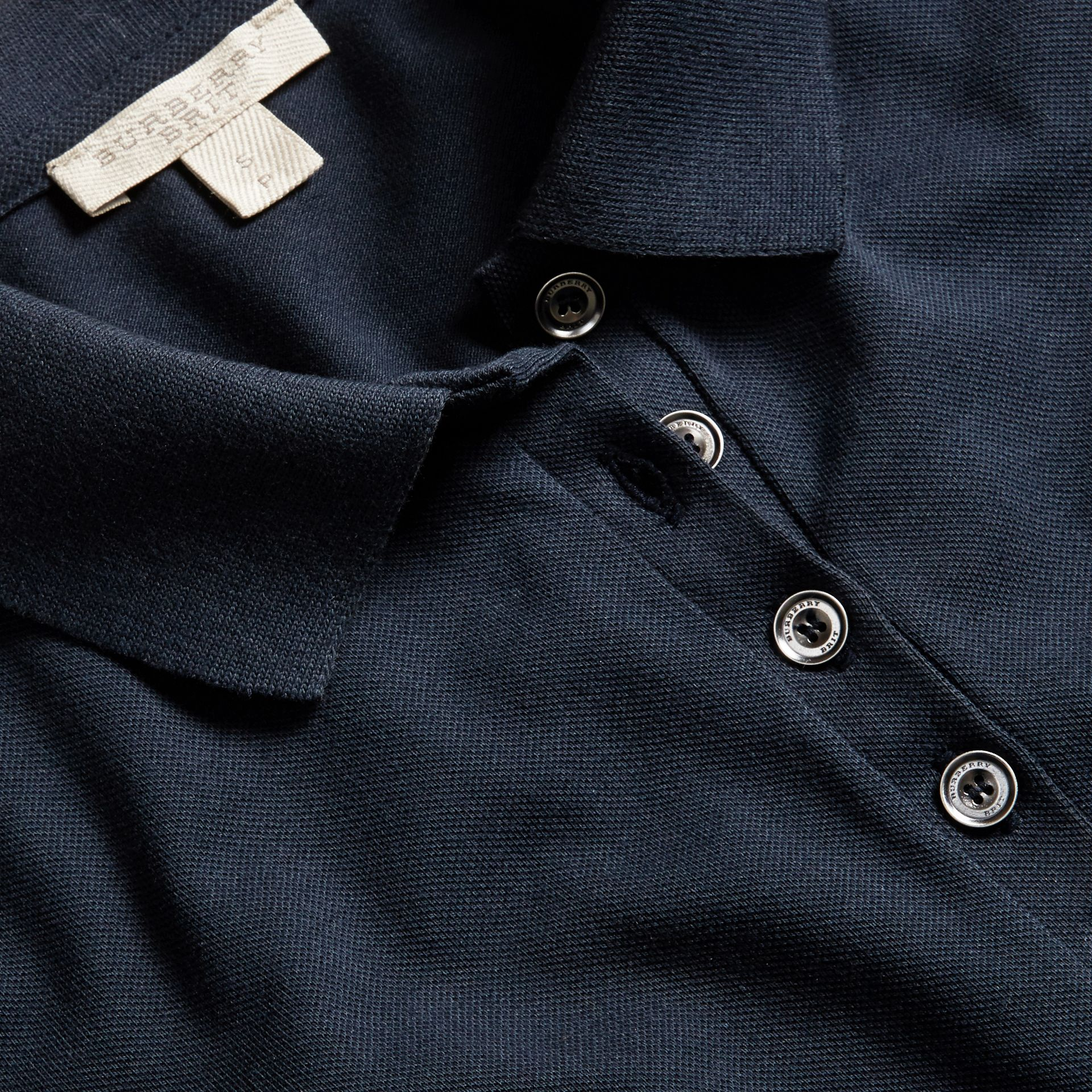 Check Trim Stretch Cotton Piqué Polo Shirt in Navy - gallery image 2