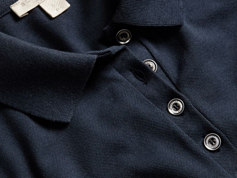 Check Trim Stretch Cotton Piqué Polo Shirt in Navy - cell image 1