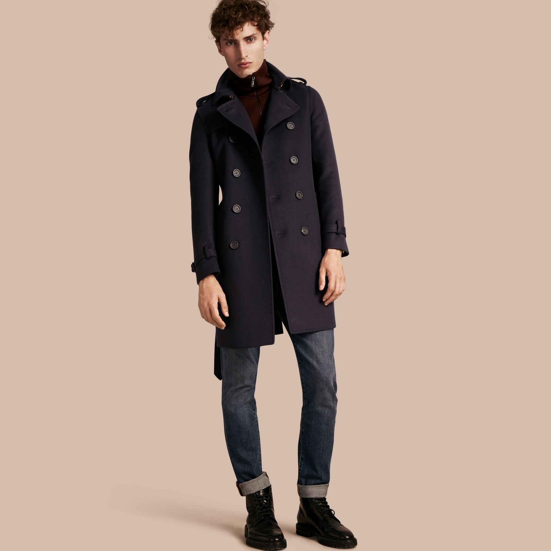 Navy Cashmere Wool Trench Coat - gallery image 1
