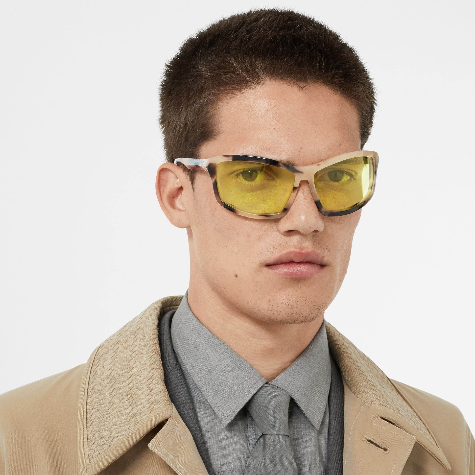 Wrap Frame Sunglasses in Yellow - Men | Burberry Australia - gallery image 2