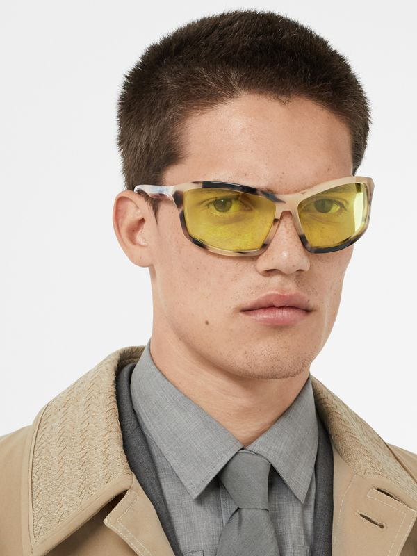 Wrap Frame Sunglasses in Yellow - Men | Burberry Hong Kong - cell image 2