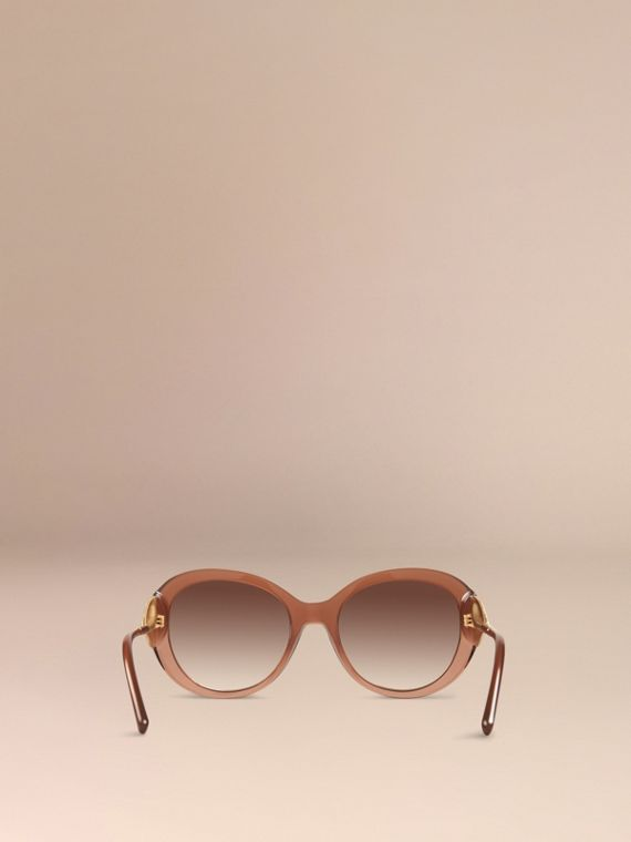 Oversize Round Frame Sunglasses in Fawn Pink - Women | Burberry - cell image 3