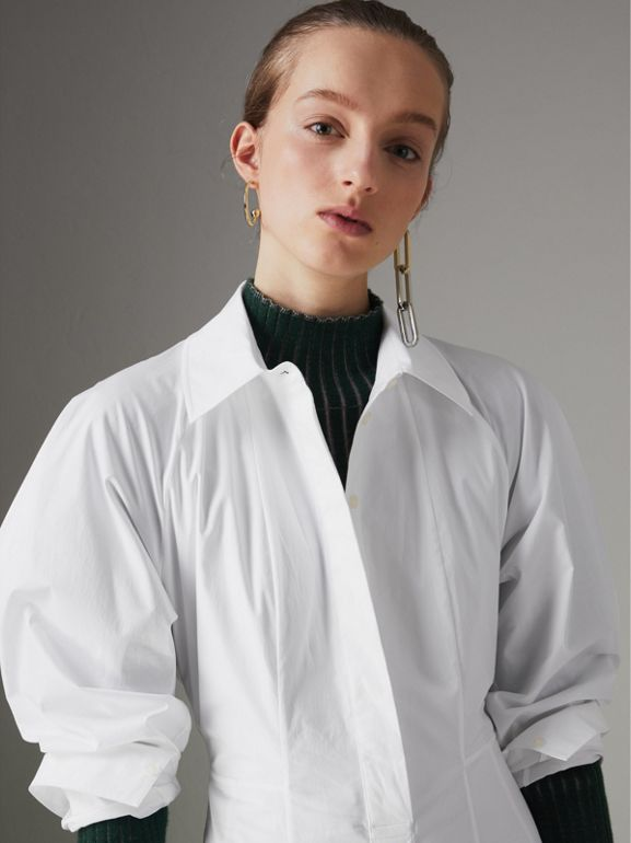Panelled Stretch Cotton Shirt Dress in White - Women | Burberry - cell image 1