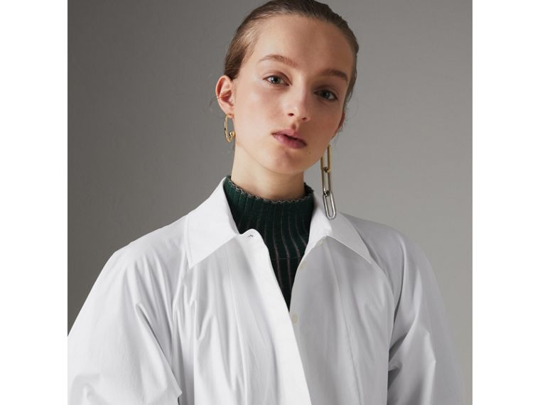 Panelled Stretch Cotton Shirt Dress in White - Women | Burberry Canada - cell image 1