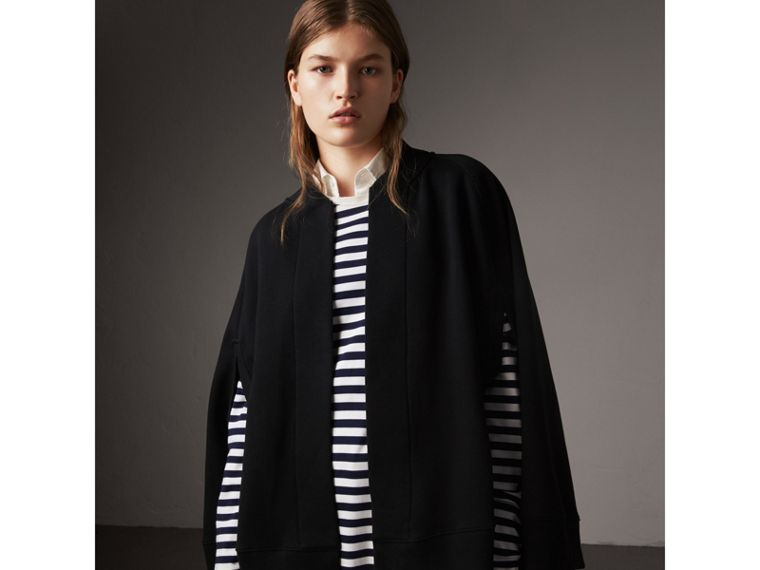 Embroidered Jersey Cape in Black - Women | Burberry - cell image 1