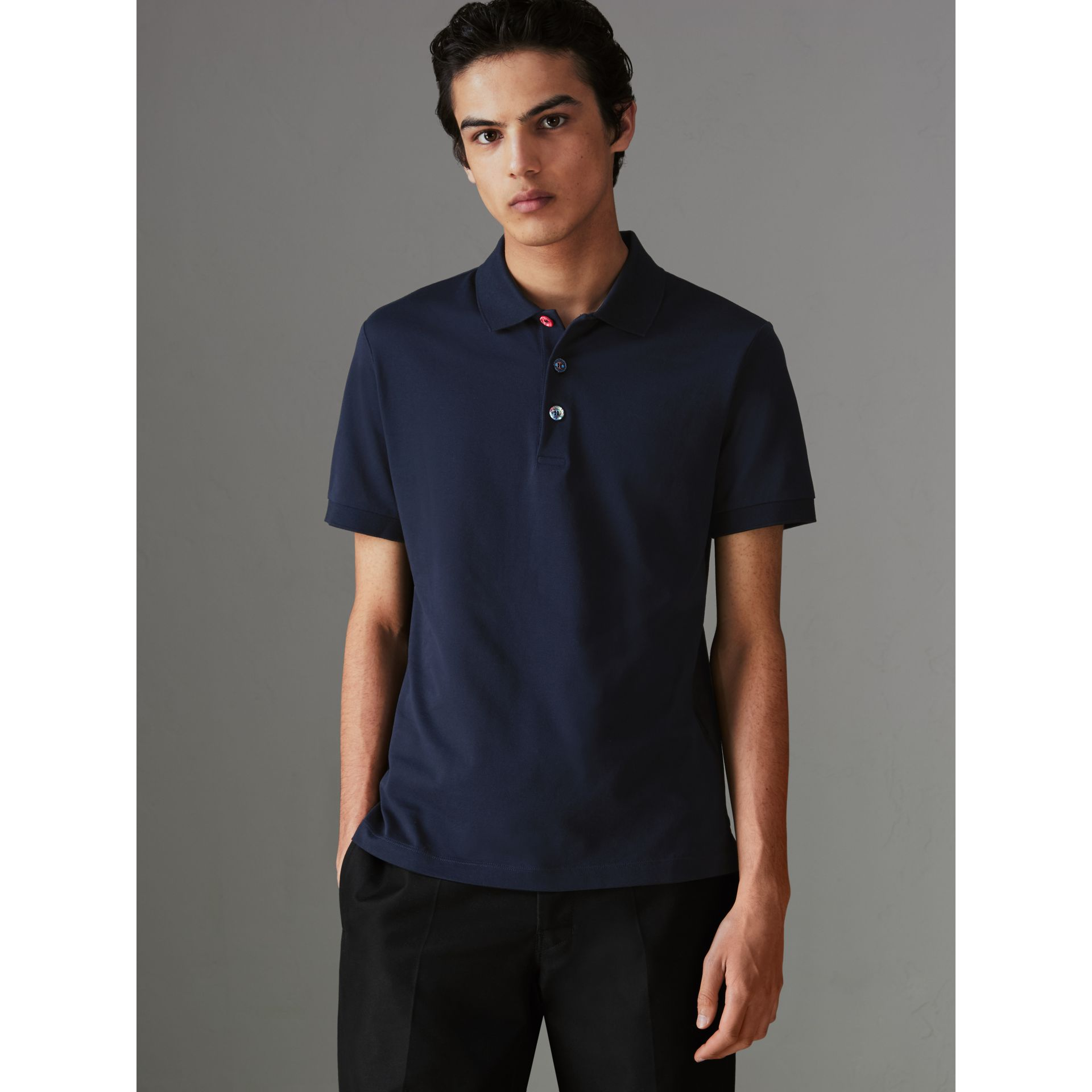 Painted Button Cotton Piqué Polo Shirt in Navy - Men | Burberry Australia - gallery image 4