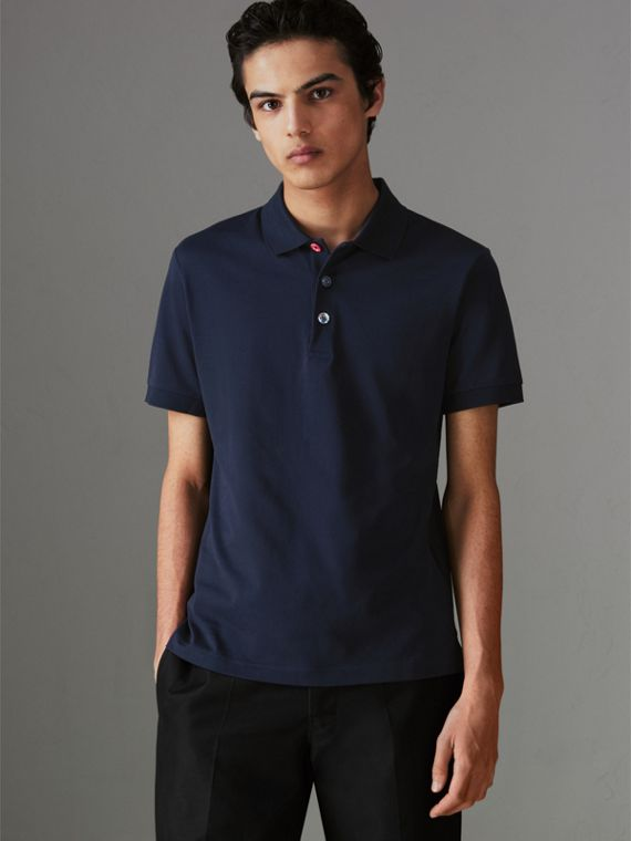 Painted Button Cotton Piqué Polo Shirt in Navy