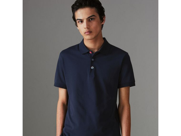 Painted Button Cotton Piqué Polo Shirt in Navy - Men | Burberry Canada - cell image 4