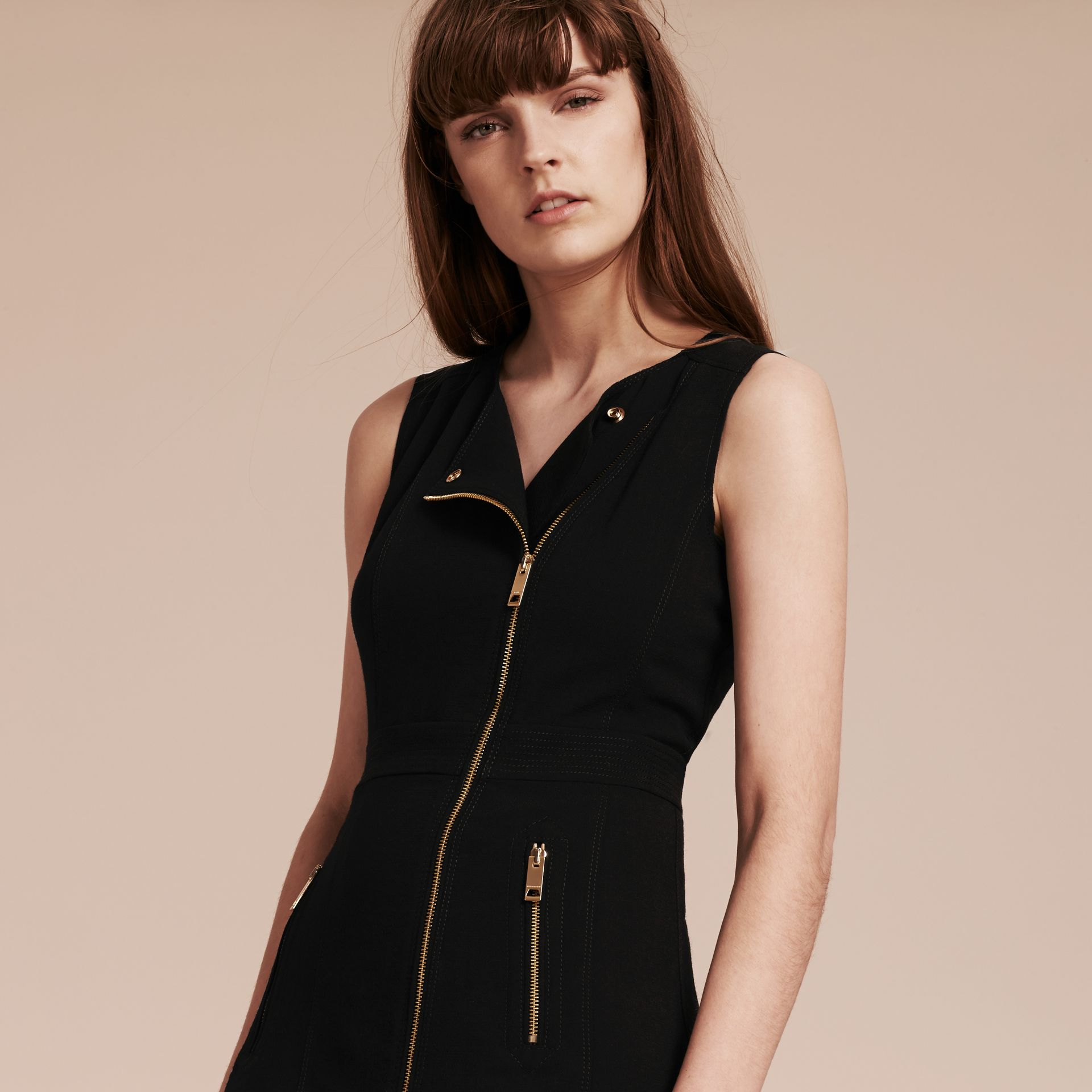 Black Zip Detail Sleeveless Wool Dress - gallery image 6