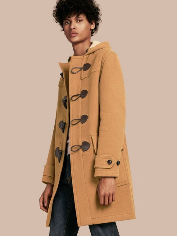 Wool-Blend Duffle Coat in Camel