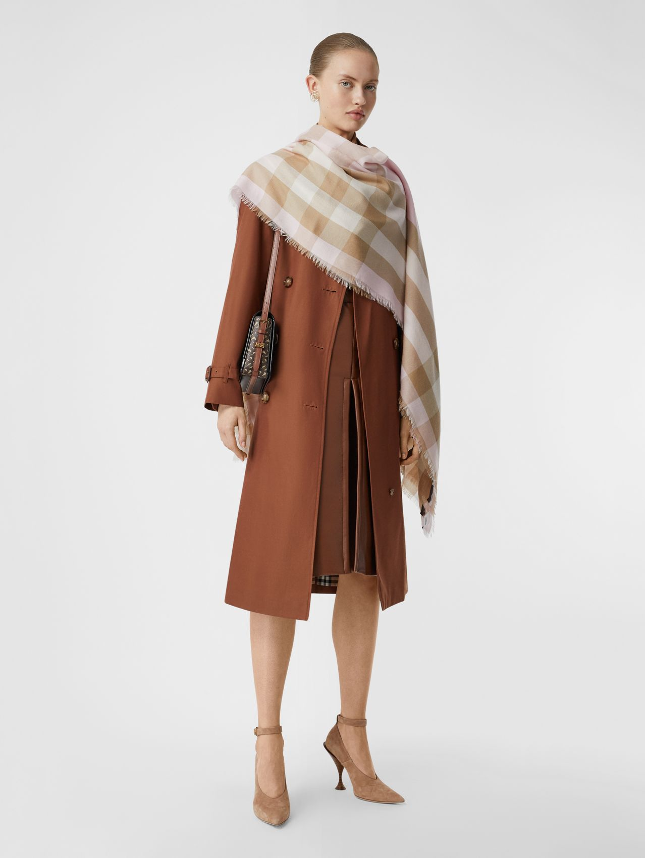 Lightweight Check Cashmere Scarf in Alabaster
