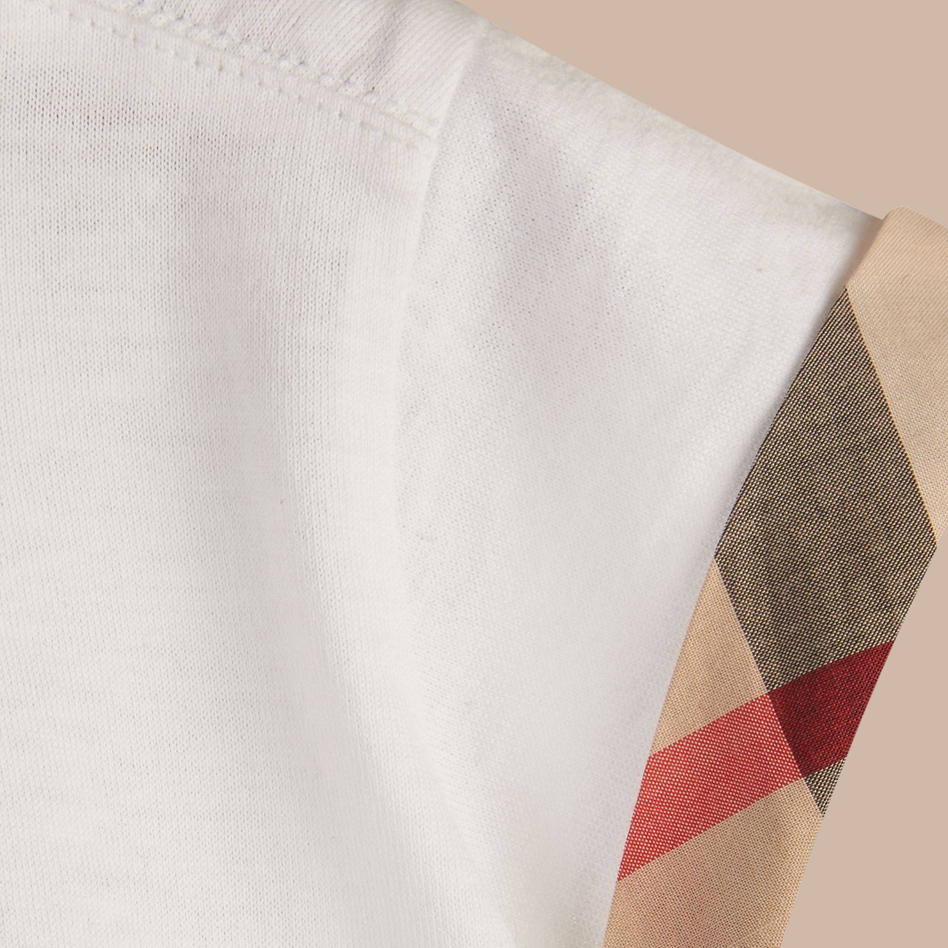 White Check Detail Cotton T-shirt - gallery image 2