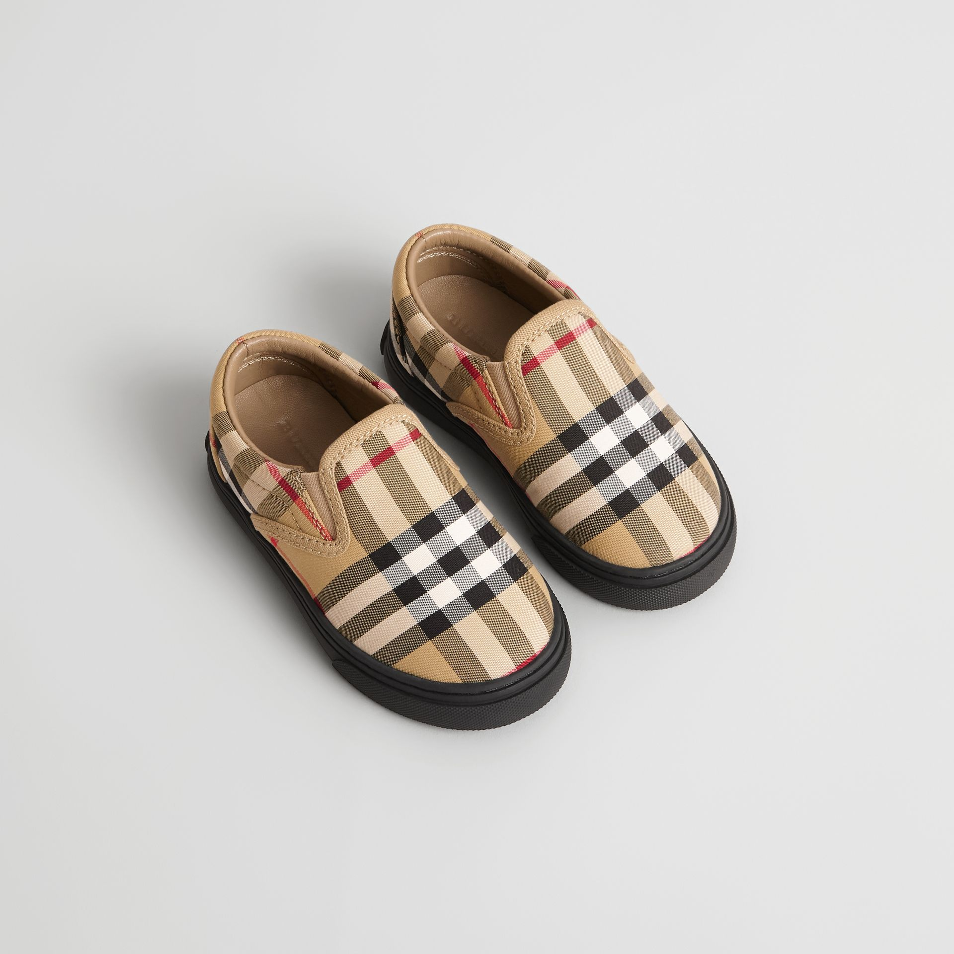 Sneakers sans lacets en cuir à motif Vintage check (Jaune Antique/noir) - Enfant | Burberry Canada - photo de la galerie 0