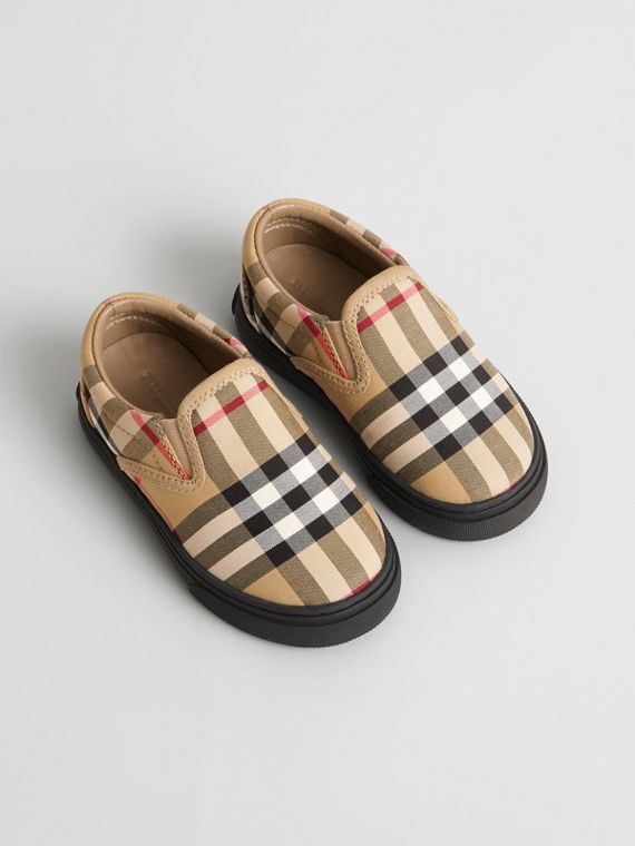 Vintage Check and Leather Slip-on Sneakers in Antique Yellow/black