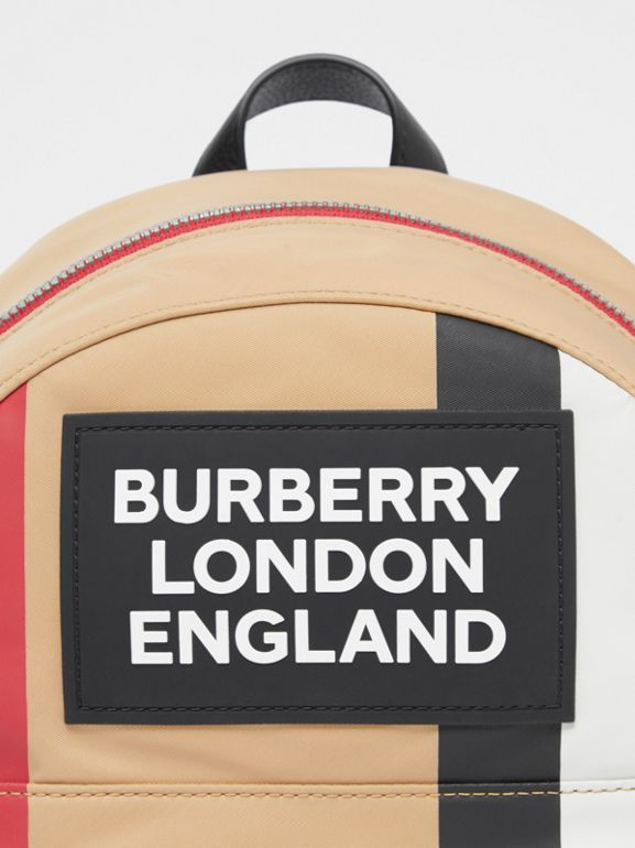 Logo Appliqué Icon Stripe ECONYL® Backpack in Archive Beige - Children | Burberry United Kingdom - cell image 1