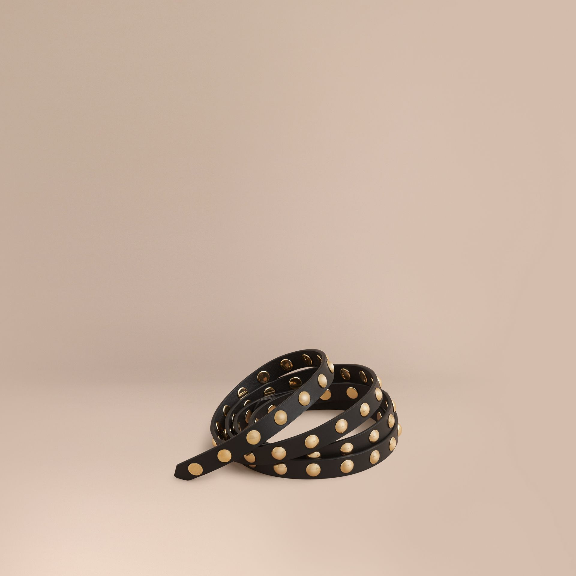 Studded Bridle Leather Double-wrap Belt in Black - gallery image 1