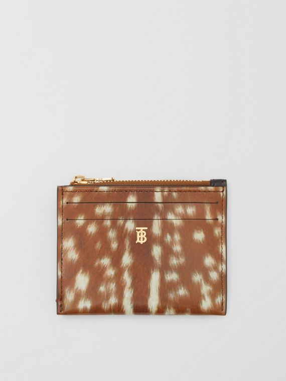 Deer Print Leather Zip Card Case in Malt Brown