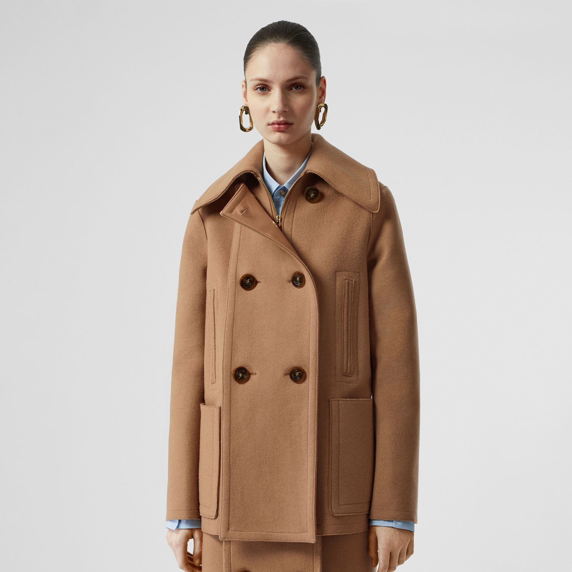 Button Panel Detail Wool Cashmere Pea Coat in Camel - Women | Burberry - gallery image 6