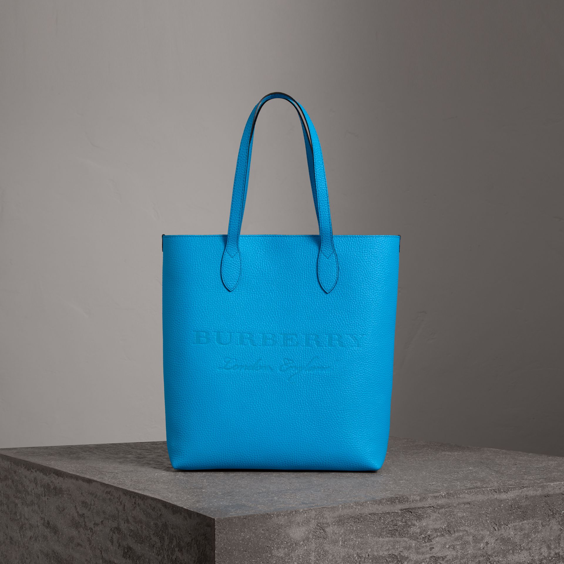 Embossed Leather Tote in Neon Blue | Burberry Australia - gallery image 0