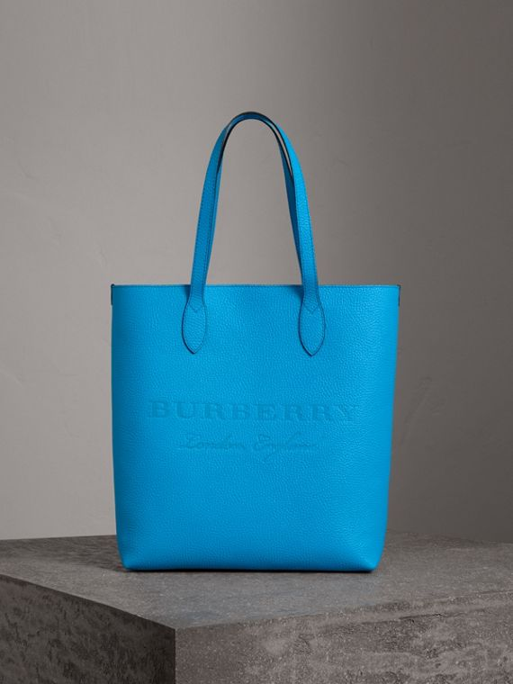 Embossed Leather Tote in Neon Blue