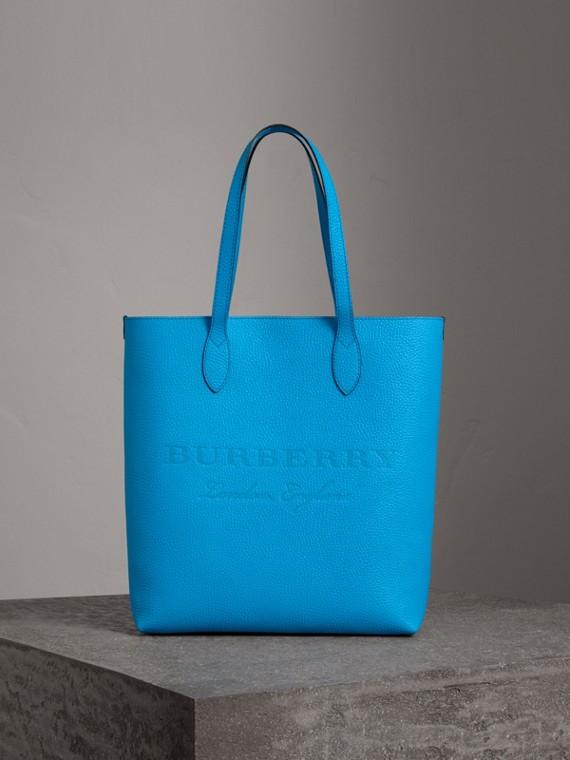 Bolsa tote de couro com detalhe em relevo (Azul Neon)