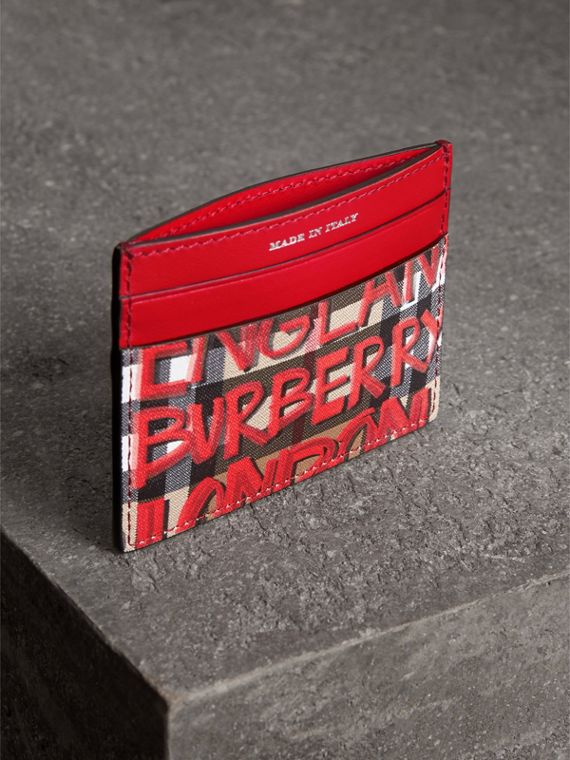 Graffiti Print Vintage Check Leather Card Case in Red | Burberry - cell image 2