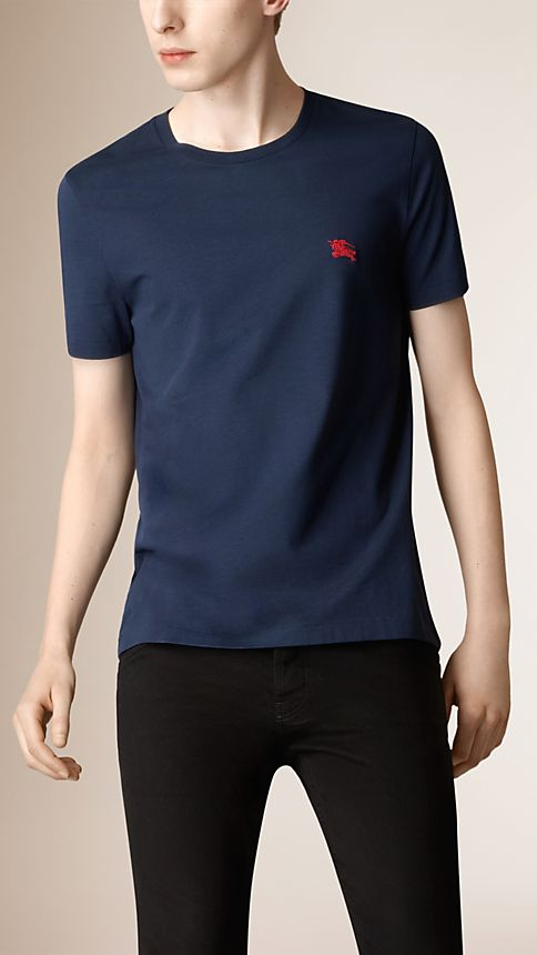 Navy Liquid-soft Cotton T-Shirt - Image 1